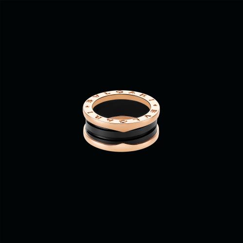 Anello B.zero1 in oro rosa 18 carati e ceramica nera