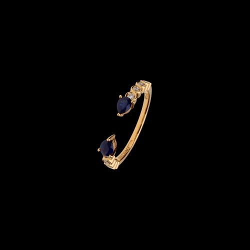 Anello in oro rosa 18 carati con zaffiri blu taglio goccia e diamanti bianchi taglio brillante