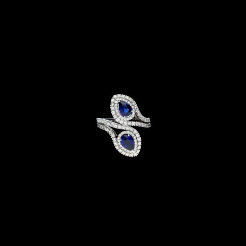 Anello damiani in oro bianco, diamanti bianchi e zaffiri blu naturali
