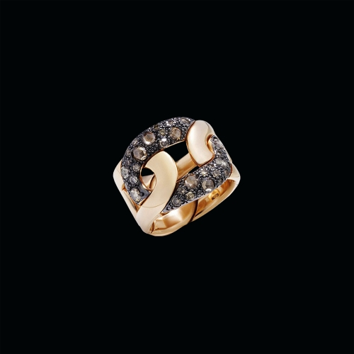 ANELLO TANGO - ANELLO IN ORO ROSA BRUNITO CON DIAMANTI BROWN TAGLIO BRILLANTE E ROSE CUT - A.B109/O7/BR