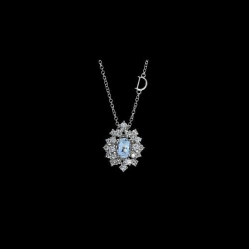 Collana Damiani Mimosa in oro bianco con Acquamarina e diamanti bianchi - 20071067