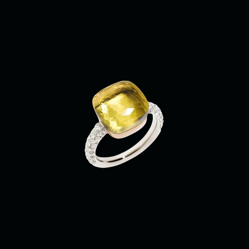 ANELLO NUDO - ANELLO NUDO WITH DIAMOND IN ORO BIANCO CON CASTONE IN ORO ROSA, QUARZO LEMON SFACCETTATO E DIAMANTI CT 0.73 - A.B401/B9O6QL