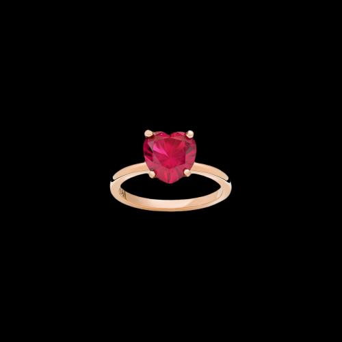 DODO 100% AMORE - ANELLO 100% AMORE - Oro rosa 9 kt con rubino sintetico - AD9/AM/SR