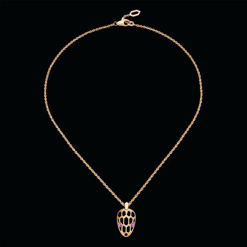 Collana Serpenti con piccolo pendente in oro rosa e ametista