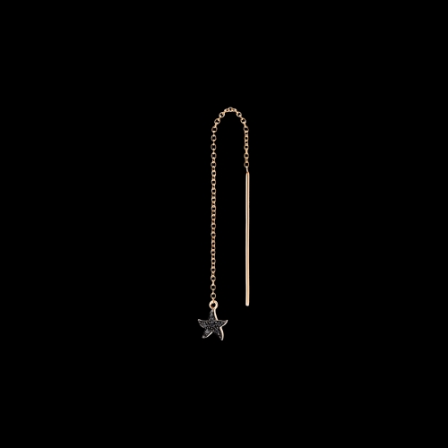 DODO FOLLW YOUR DREAMS - ORECCHINO AGO STELLA MARINA - Orecchino singolo in oro rosa 9 kt e diamanti black - DOHSTPP/BB/AGO/9