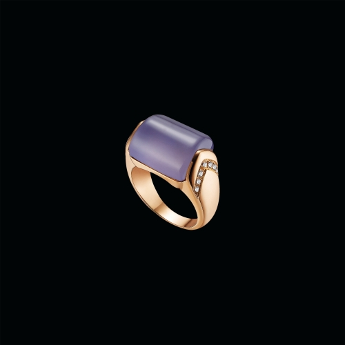 Anello MVSA in oro rosa 18 carati con calcedonio e diamanti