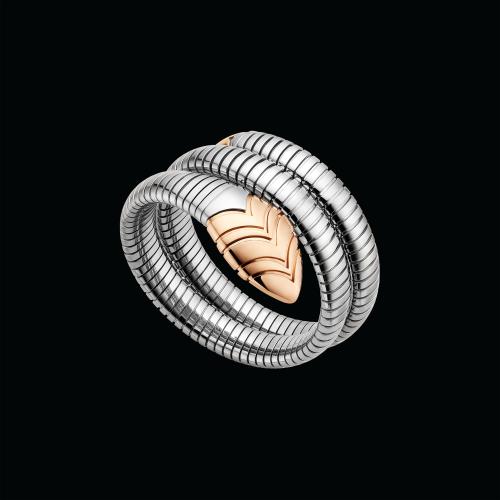 Bracciale Serpenti Tubogas in oro rosa 18 carati e acciaio