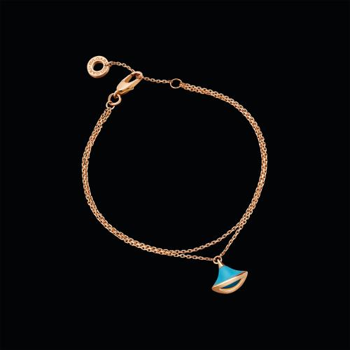 Bracciale DIVAS' DREAM in oro rosa 18 carati con turchese. Lunghezza 15-19 cm