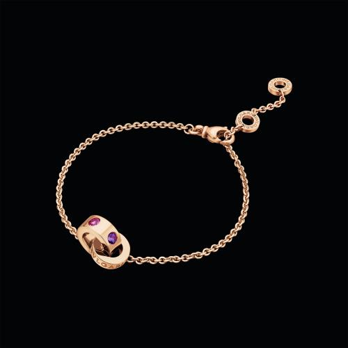 Bracciale BVLGARI BVLGARI in oro rosa 18 carati con ametiste e tormaline rosa