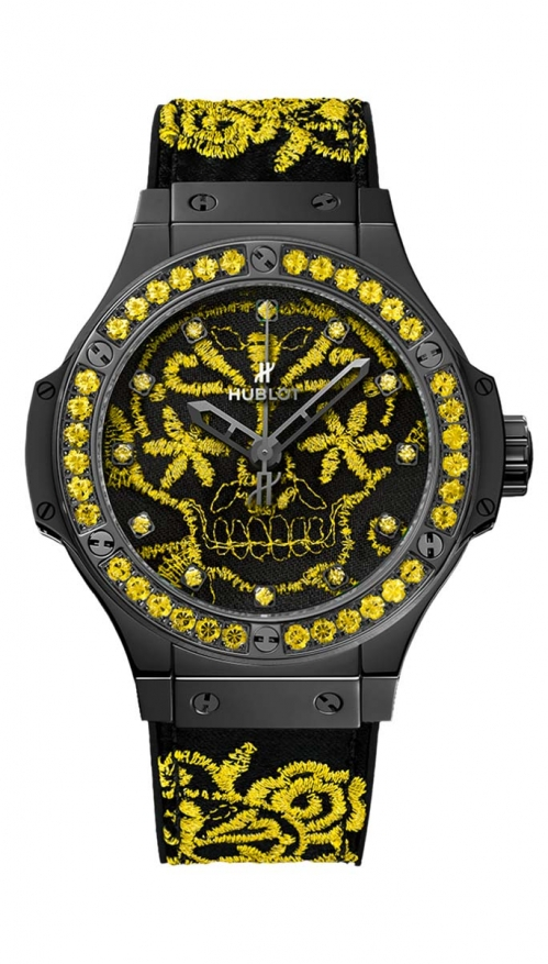 BRODERIE SUGAR SKULL FLUO SUNFLOWER - LIMITED EDITION 100 PZ. - 343.CY.6590.NR.1211