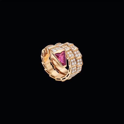 Anello Serpenti a due giri in oro rosa 18 carati con rubellite e pavé di diamanti