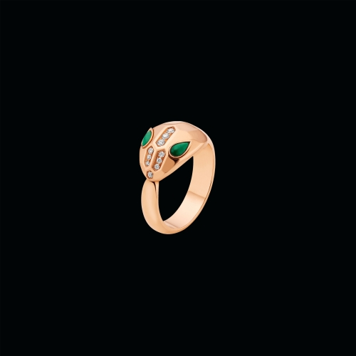 Anello Serpenti in oro rosa, malachite e pavé di diamanti