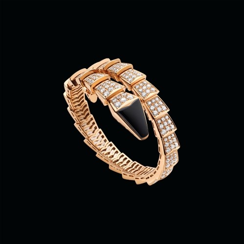 Bracciale Serpenti in oro rosa 18 carati con onice nera e pavé di diamanti - il prezzo varia a seconda delle misure