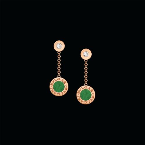 Orecchini BVLGARI BVLGARI in oro rosa 18 carati con giadeite e diamanti