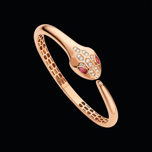 Bracciale Serpenti in oro rosa, rubellite e semi-pavé di diamanti