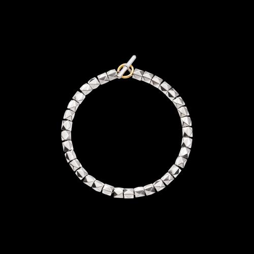 DODO GOOD LUCK - KIT BRACCIALE BORCHIE ARGENTO - Bracciale, borchie in argento. Anello brisé in oro giallo 18 kt. - DKB/4/1