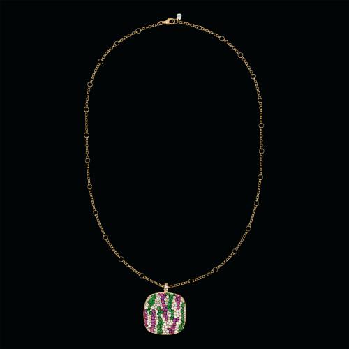 Collana in oro rosa 18 carati con diamanti, zaffiri rosa e tsavorite