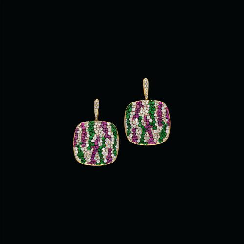 Orecchini in oro rosa 18 carati con diamanti, zaffiri rosa e tsavorite