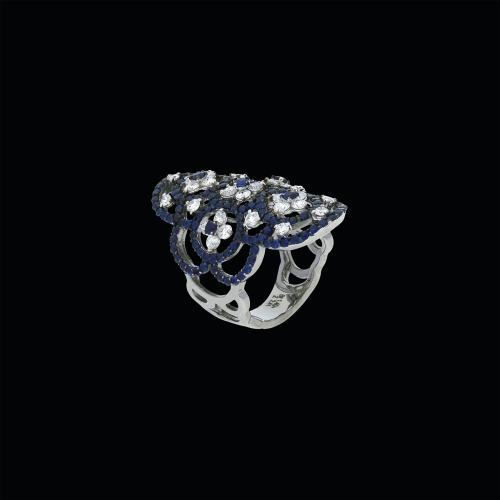 Anello in oro bianco 18 carati con diamanti bianchi e zaffiri blu taglio brillante