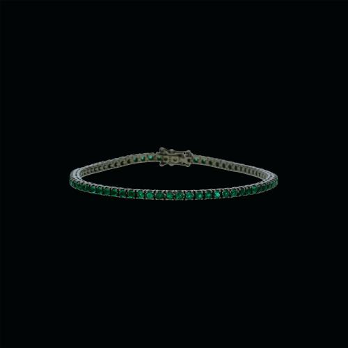 Bracciale tennis in oro nero 18 carti con smeraldi naturali