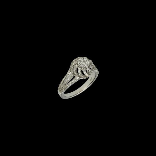 Anello Solitario in oro bianco con diamanti bianchi