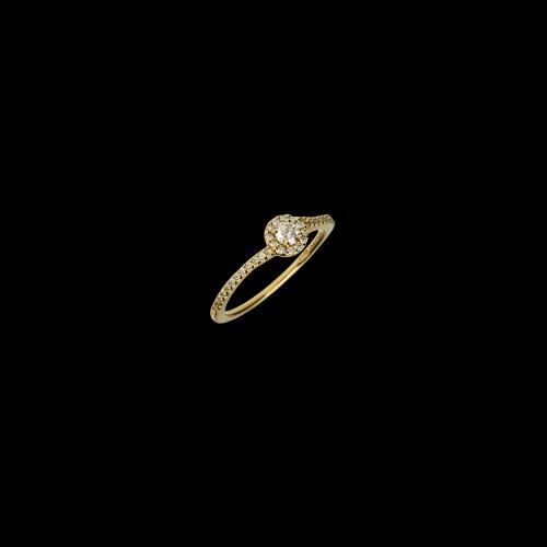 Anello Solitario in oro rosa e diamanti bianchi