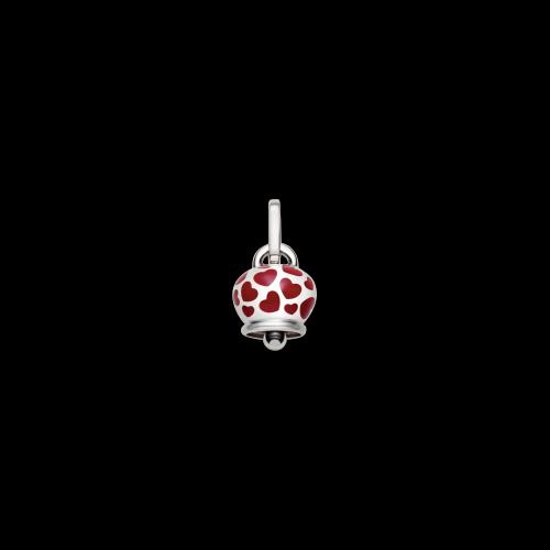 Ciondolo Chantecler Campanella in argento e cuori in smalto rosso misura grande
