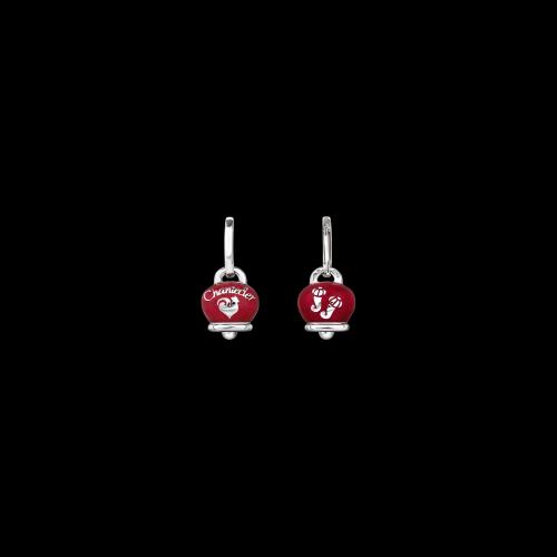 Orecchino singolo Chantecler Campanelle in argento e smalto rosso double face logo e cornetti