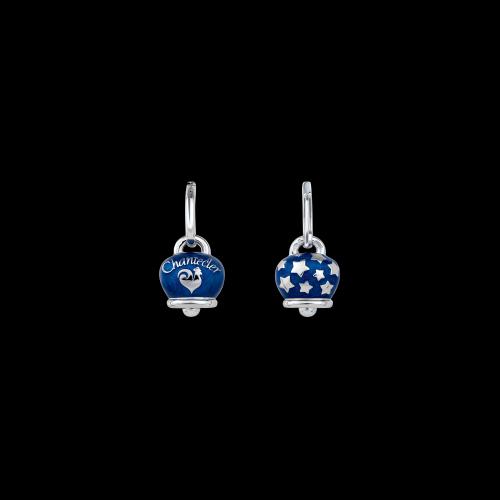 Orecchino singolo Chantecler Campanelle in argento e smalto blu double face logo e stelline