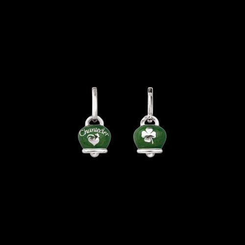 Orecchino singolo Chantecler Campanelle in argento con smalto verde double face logo e quadrifoglio