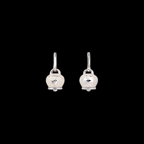 Orecchino singolo Chantecler Campanelle in argento e smalto bianco double face logo e faraglioni di Capri