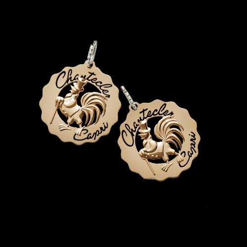 Mono Orecchino Chantecler Logo Gallo Dandy in oro rosa 18 carati e diamanti bianchi