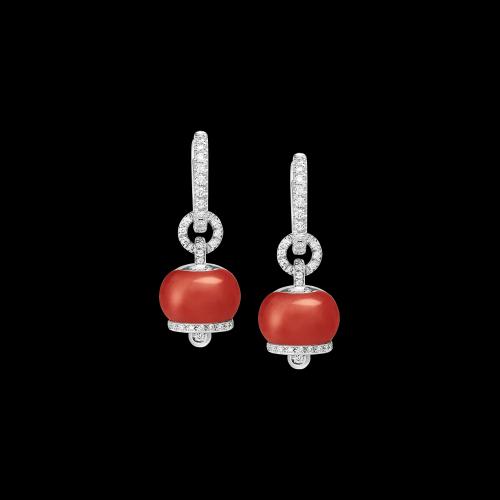 Orecchini Chantecler Campanelle in roro bianco bianco e corallo rosso