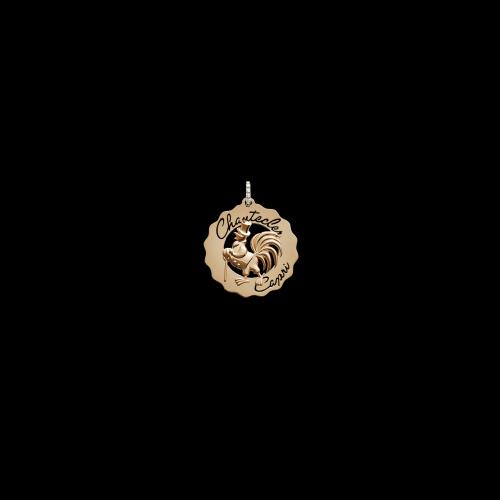 Ciondolo Logo Gallo dandy in oro rosa e diamanti bianchi - 36619