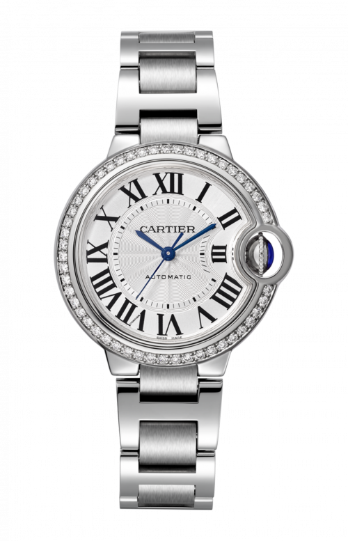 BALLON BLEU DE CARTIER 33 MM, ACCIAIO, DIAMANTI - W4BB0016