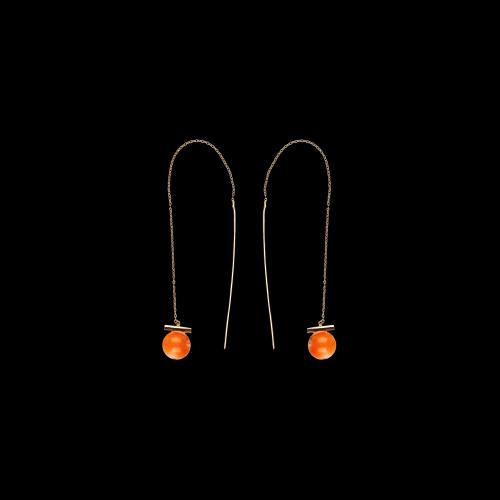 Orecchini in argento rosè e corallo rosso