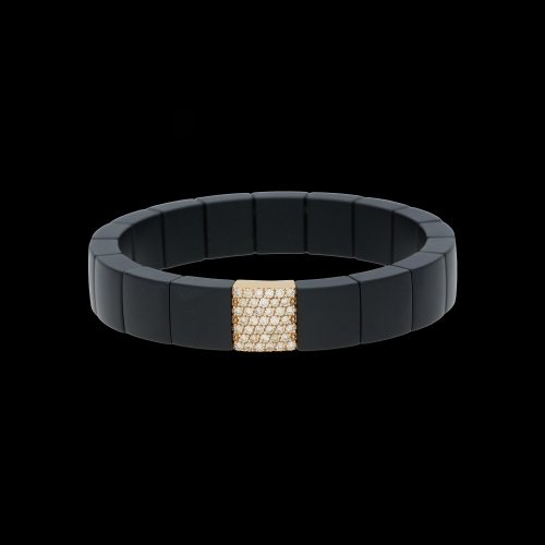 BRACCIALE ELASTICO DOMINO IN CERAMICA NERA, ORO ROSA E DIAMANTI BROWN
