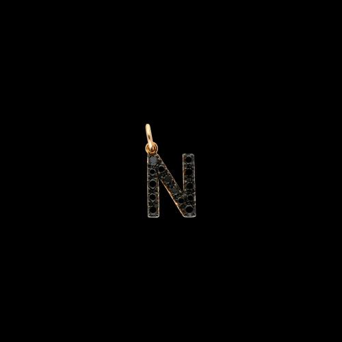 N - Ciondolo in oro rosa 18 carati e diamanti neri taglio brillante