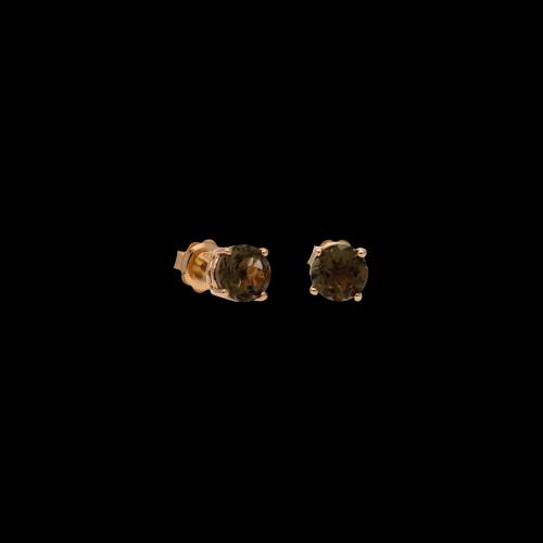 Orecchini in oro rosa 9 carati e quarzo fumè taglio brillante