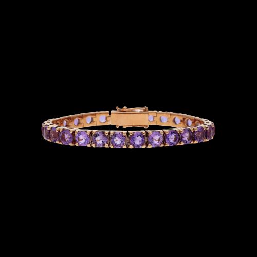 Bracciale tennis in oro rosa 9 carati e ametista taglio brillante