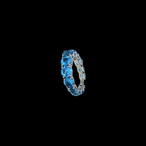 Anello in oro bianco 9 carati e Topazi Azzurri taglio brillante