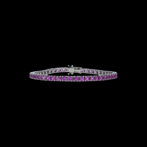 Bracciale tennis in oro bianco18 carati e zaffiri rosa taglio brillante  - Lunghezza 20 cm.
