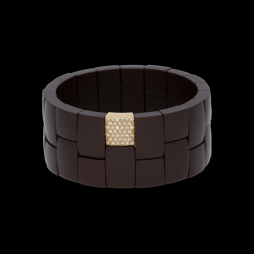 BRACCIALE DOMINO IN CEAMICA MARRONE, ORO ROSA E DIAMANTI BROWN