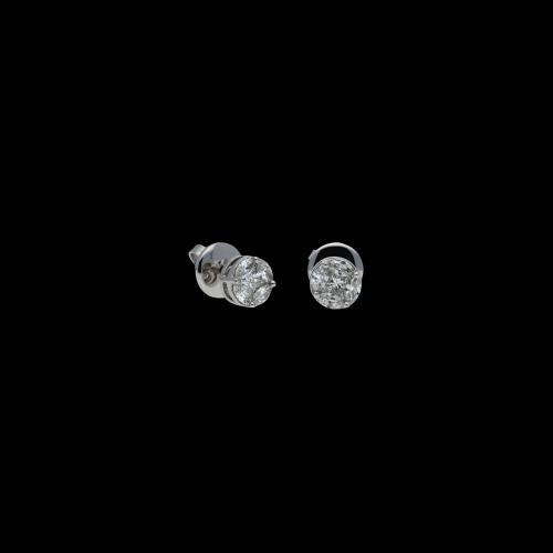 Orecchini in oro bianco 18 carati e diamanti bianchi vari tagli