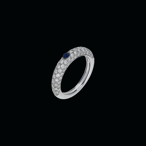 Anello in oro bianco 18 carati ocn diamanti bianchi e zaffiro blu naturale