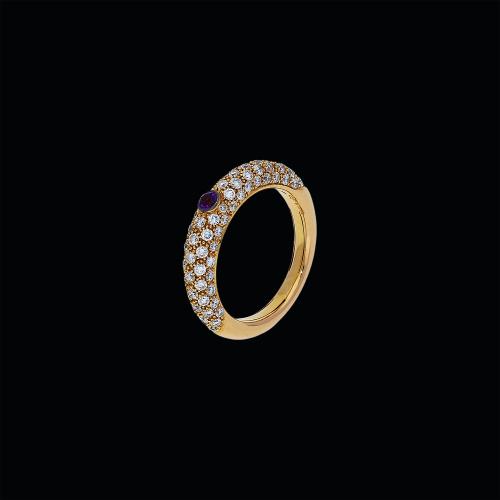 Anello in oro rosa 18 carati, diamanti bianchi e ametista