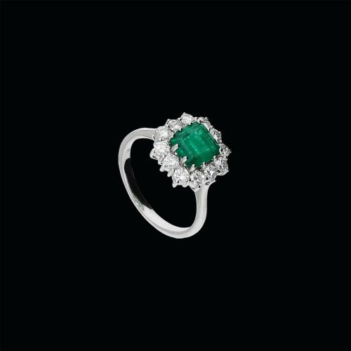 Anello in oro bianco 18 carati, diamanti bainchi taglio brillante e smeraldo naturale