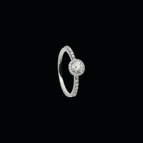 Anello solitario in oro bianco 18 carati e diamanti vianchi taglio brillante