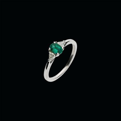 Anello in oro bianco 18 carati,smeraldo naturale e diamanti bianco taglio brillante