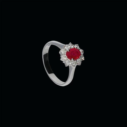 Anello in oro bianco 18 carati,rubino naturale e diamanti bianchi taglio brillante